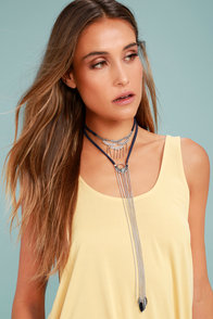Gleam-work Silver and Navy Blue Layered Choker Necklace