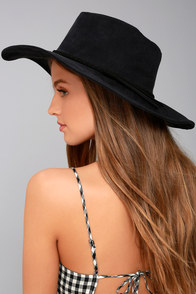 Vivi Black Suede Floppy Hat