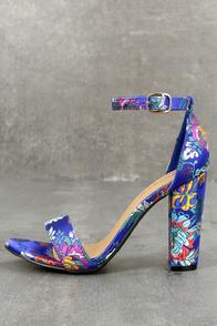 Veda Blue Brocade Ankle Strap Heels