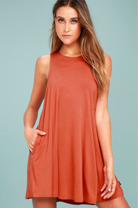 RVCA Sucker Punch 2 Burnt Orange Swing Dress