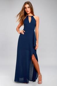 I Spy Navy Blue Maxi Dress