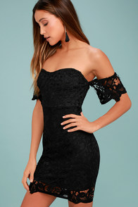 Gimme Noir Black Lace Off-the-Shoulder Dress