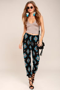 Lucy Love Joshua Tree Black Embroidered Pants