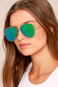 Perverse Toni Bologni Green Mirrored Aviator Sunglasses