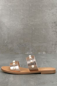 Lexie Dark Penny Pearl Slide Sandals