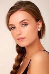 Dream Date Silver Rhinestone Earrings