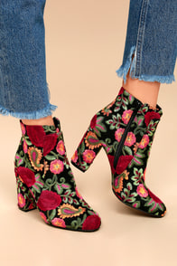 MIA Rosebud Black Embroidered Ankle Booties