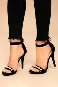 Camille Black Suede Pearl Platform Heels