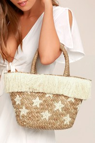 KAYU Stellar Beige Straw Basket Bag