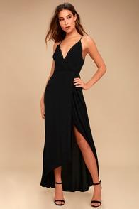 ASTR the Label Isabella Black Lace Wrap Maxi Dress