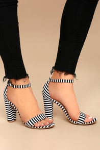 Veda Black and White Striped Ankle Strap Heels