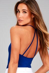 Just Dance Royal Blue Sleeveless Bodysuit