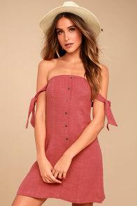 ASTR the Label Araceli Rusty Rose Off-the-Shoulder Dress
