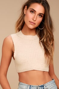 Free People Valley Side Light Beige Cropped Vest