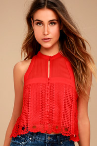 Free People Rory Red Crochet Crop Top