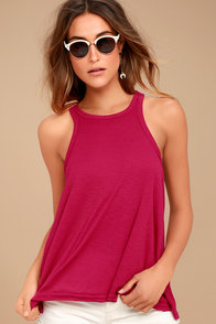 Free People Long Beach Fuchsia Tank Top