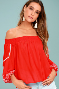 Wildflower Whisper Red Embroidered Off-the-Shoulder Top