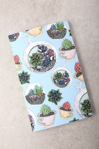 Denik Succulents Light Blue Print Layflat Lined Notebook