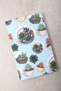 Denik Succulents Light Blue Print Layflat Lined Notebook