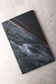 Denik Obsidian Black Print Layflat Bank Notebook