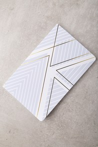 Denik Triangles Grey Print Layflat Blank Notebook