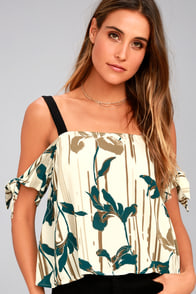 Breathe Cream Floral Print Off-the-Shoulder Top