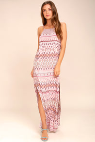 Mosaic Days Blush Pink Print Maxi Dress