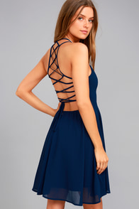 Good Deeds Navy Blue Lace-Up Dress