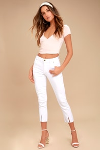 EVIDNT Hermosa White Cropped Skinny Jeans