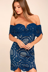 Bellissimo Navy Blue Lace Off-the-Shoulder Bodycon Dress