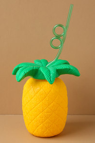 Sunnylife Pineapple Sipper Yellow Cup and Straw