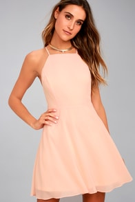 Letter of Love Blush Pink Backless Skater Dress