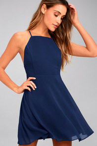 Letter of Love Navy Blue Backless Skater Dress