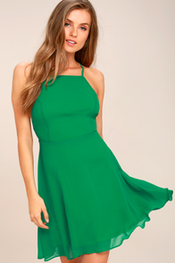 Letter of Love Green Backless Skater Dress