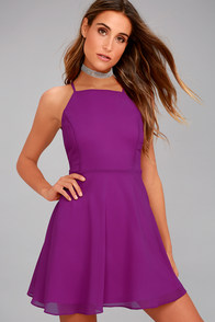 Letter of Love Magenta Backless Skater Dress