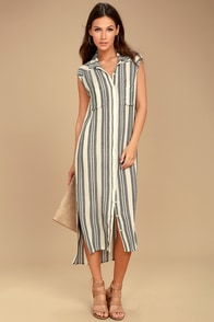 Billabong Mad Times Black and Cream Striped Shirt Dress