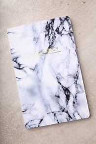Denik I'm So Fancy White Marble Print Layflat Lined Notebook