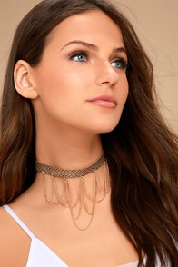 Viper Brown and Gold Choker Necklace