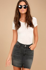 Billabong Black Magic Washed Black Denim Mini Skirt