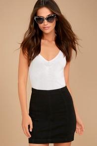 Free People Modern Femme Washed Black Denim Mini Skirt