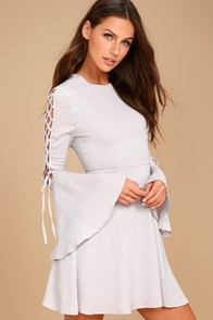 J.O.A. Aura Light Grey Long Sleeve Skater Dress
