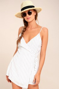 At The Seashore White Striped Romper at Lulus.com!