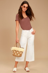 Billabong Stevie White Cropped Wide-Leg Jeans