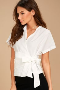 Sure Thing White Wrap Top