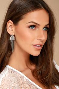 Cascada Silver Rhinestone Earrings