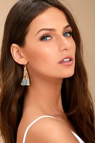 Stylista Gold and Grey Beaded Tassel Earrings
