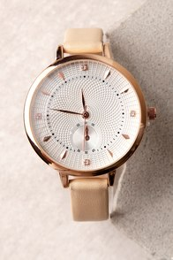 All the Time Rose Gold and Beige Watch