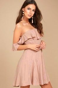ASTR the Label Sabina Mauve Embroidered Off-the-Shoulder Dress