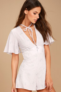 Lost + Wander Willow Light Grey Embroidered Romper