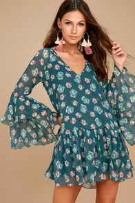 Billabong Stevie Sunday Blue Floral Print Long Sleeve Dress